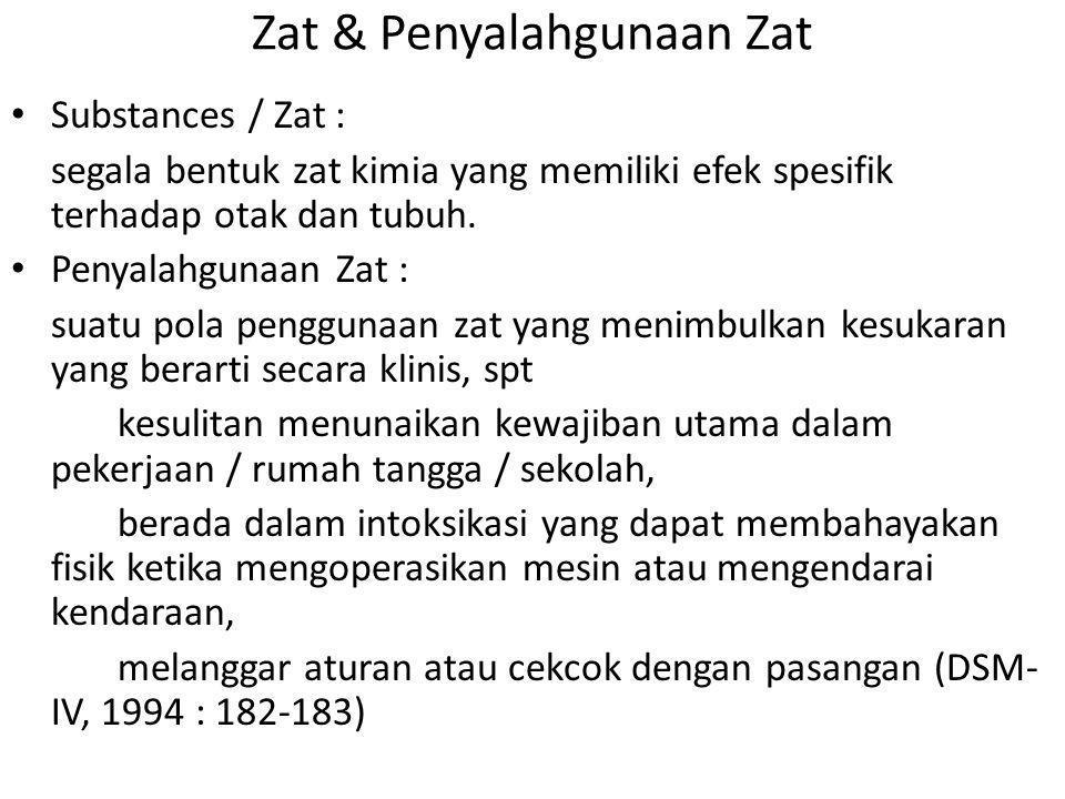 Zat & Penyalahgunaan Zat Substances / Zat : segala bentuk zat kimia yang memiliki efek spesifik terhadap otak dan tubuh. Penyalahgunaan Zat : suatu po