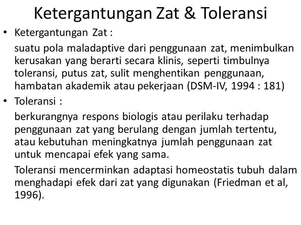 Ketergantungan Zat & Toleransi Ketergantungan Zat : suatu pola maladaptive dari penggunaan zat, menimbulkan kerusakan yang berarti secara klinis, sepe