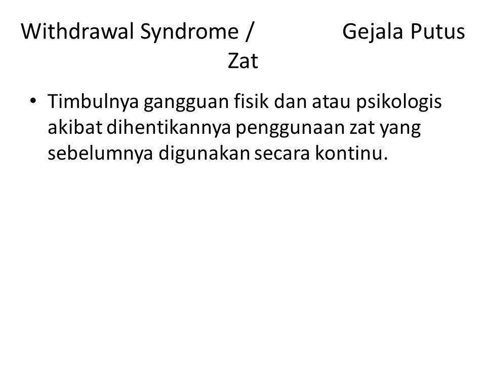Withdrawal Syndrome / Gejala Putus Zat Timbulnya gangguan fisik dan atau psikologis akibat dihentikannya penggunaan zat yang sebelumnya digunakan secara kontinu.