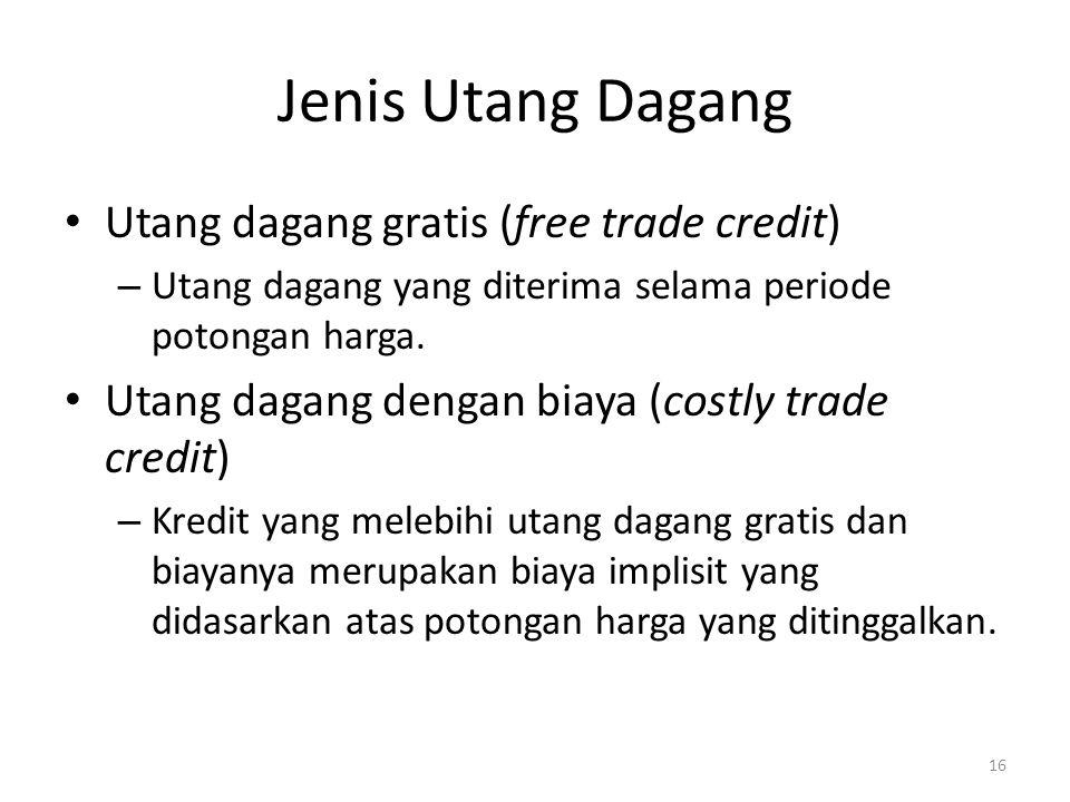 Jenis Utang Dagang Utang dagang gratis (free trade credit) – Utang dagang yang diterima selama periode potongan harga. Utang dagang dengan biaya (cost