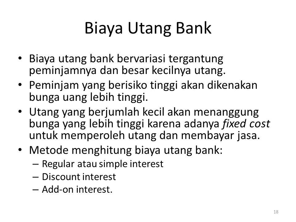 Biaya Utang Bank Biaya utang bank bervariasi tergantung peminjamnya dan besar kecilnya utang. Peminjam yang berisiko tinggi akan dikenakan bunga uang