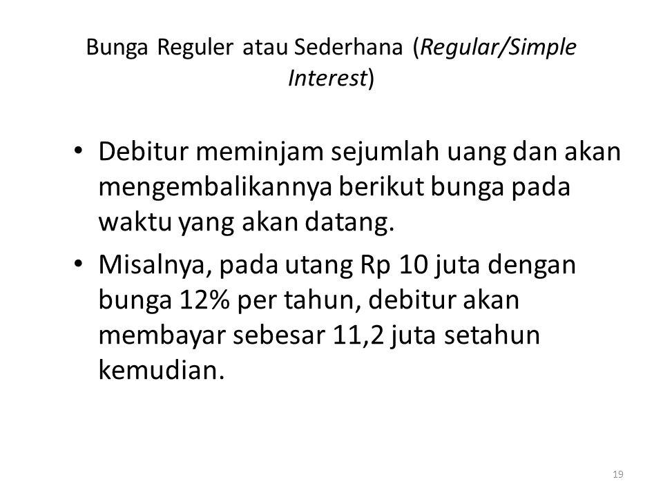 Bunga Reguler atau Sederhana (Regular/Simple Interest) Debitur meminjam sejumlah uang dan akan mengembalikannya berikut bunga pada waktu yang akan dat