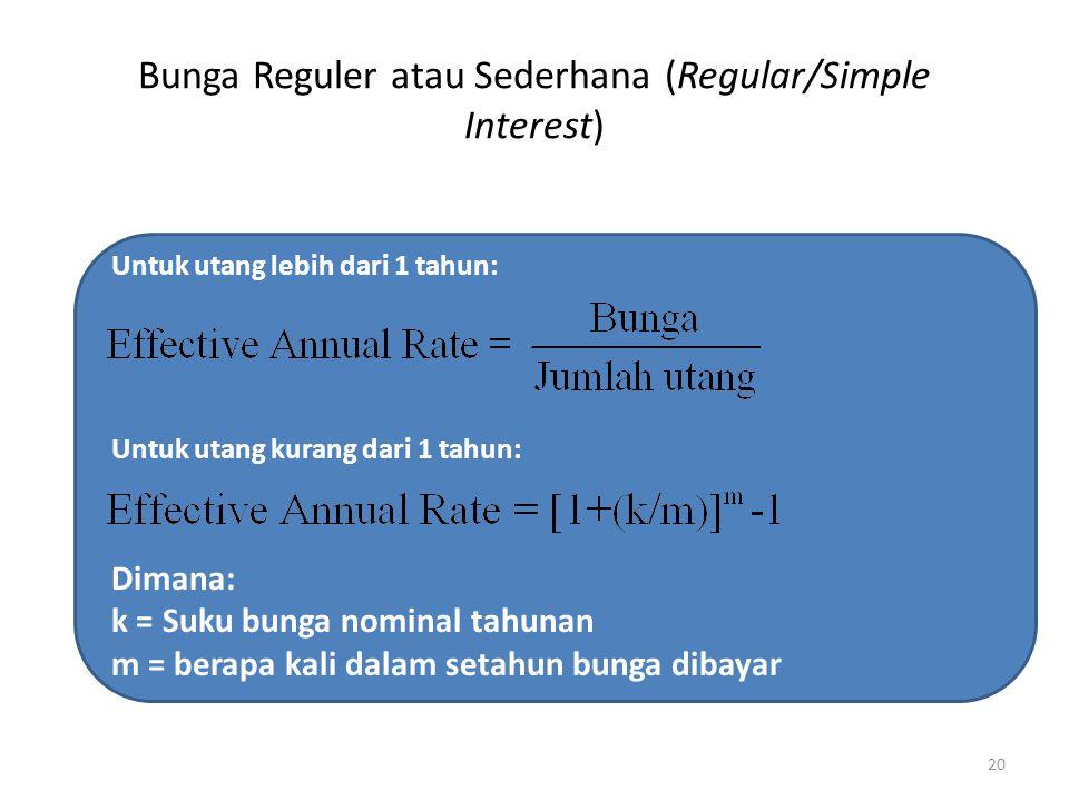 Bunga Reguler atau Sederhana (Regular/Simple Interest) 20 Untuk utang lebih dari 1 tahun: Untuk utang kurang dari 1 tahun: Dimana: k = Suku bunga nominal tahunan m = berapa kali dalam setahun bunga dibayar