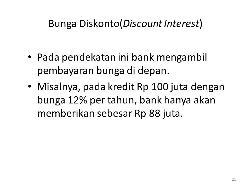 Bunga Diskonto(Discount Interest) Pada pendekatan ini bank mengambil pembayaran bunga di depan. Misalnya, pada kredit Rp 100 juta dengan bunga 12% per