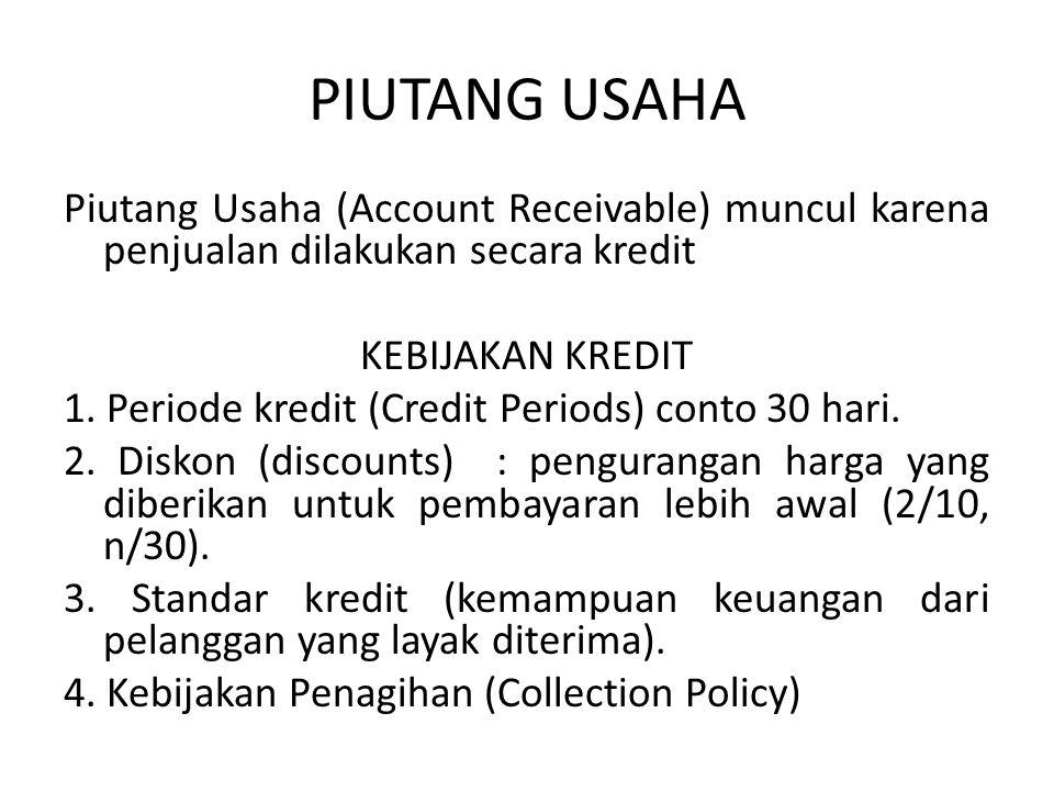 PIUTANG USAHA Piutang Usaha (Account Receivable) muncul karena penjualan dilakukan secara kredit KEBIJAKAN KREDIT 1. Periode kredit (Credit Periods) c
