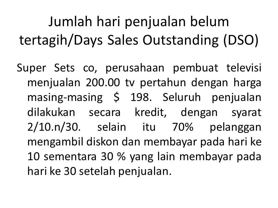 Jumlah hari penjualan belum tertagih/Days Sales Outstanding (DSO) Super Sets co, perusahaan pembuat televisi menjualan 200.00 tv pertahun dengan harga