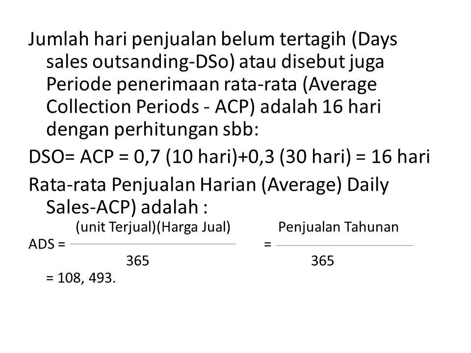 Jumlah hari penjualan belum tertagih (Days sales outsanding-DSo) atau disebut juga Periode penerimaan rata-rata (Average Collection Periods - ACP) adalah 16 hari dengan perhitungan sbb: DSO= ACP = 0,7 (10 hari)+0,3 (30 hari) = 16 hari Rata-rata Penjualan Harian (Average) Daily Sales-ACP) adalah : (unit Terjual)(Harga Jual) Penjualan Tahunan ADS == 365365 = 108, 493.