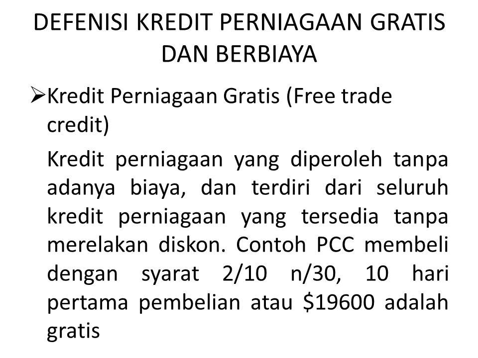 DEFENISI KREDIT PERNIAGAAN GRATIS DAN BERBIAYA  Kredit Perniagaan Gratis (Free trade credit) Kredit perniagaan yang diperoleh tanpa adanya biaya, dan