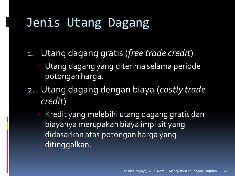 Jenis Utang Dagang 1. Utang dagang gratis (free trade credit)  Utang dagang yang diterima selama periode potongan harga. 2. Utang dagang dengan biaya