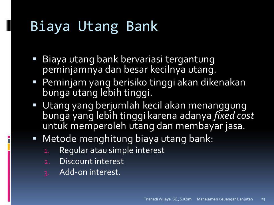 Biaya Utang Bank  Biaya utang bank bervariasi tergantung peminjamnya dan besar kecilnya utang.  Peminjam yang berisiko tinggi akan dikenakan bunga u