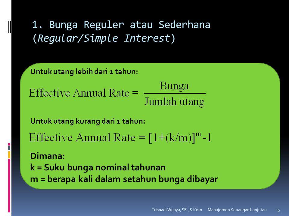 1. Bunga Reguler atau Sederhana (Regular/Simple Interest) Trisnadi Wijaya, SE., S.Kom 25 Untuk utang lebih dari 1 tahun: Untuk utang kurang dari 1 tah