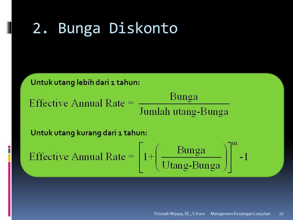 2. Bunga Diskonto Trisnadi Wijaya, SE., S.Kom 27 Untuk utang lebih dari 1 tahun: Untuk utang kurang dari 1 tahun: Manajemen Keuangan Lanjutan