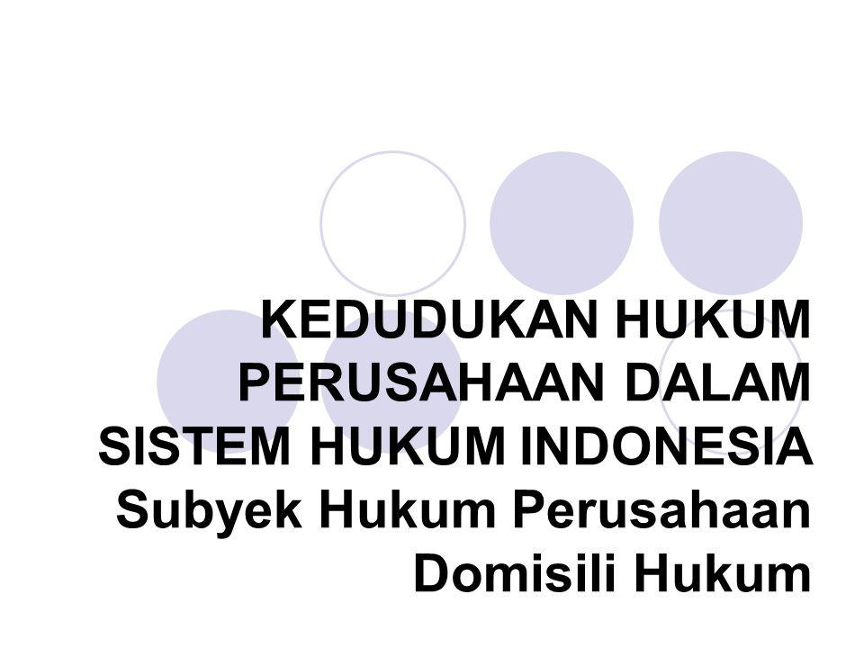 KEDUDUKAN HUKUM PERUSAHAAN DALAM SISTEM HUKUM INDONESIA Subyek Hukum Perusahaan Domisili Hukum