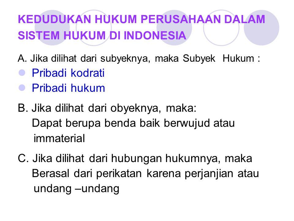 KEDUDUKAN HUKUM PERUSAHAAN DALAM SISTEM HUKUM DI INDONESIA A.