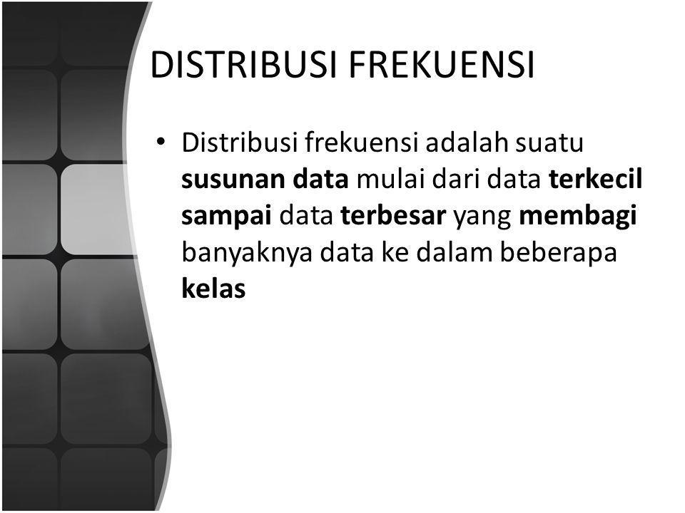 DISTRIBUSI FREKUENSI Distribusi frekuensi adalah suatu susunan data mulai dari data terkecil sampai data terbesar yang membagi banyaknya data ke dalam beberapa kelas