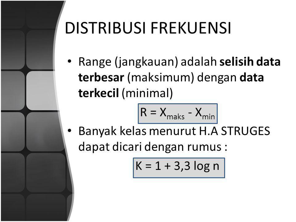 DISTRIBUSI FREKUENSI Range (jangkauan) adalah selisih data terbesar (maksimum) dengan data terkecil (minimal) R = X maks - X min Banyak kelas menurut H.A STRUGES dapat dicari dengan rumus : K = 1 + 3,3 log n