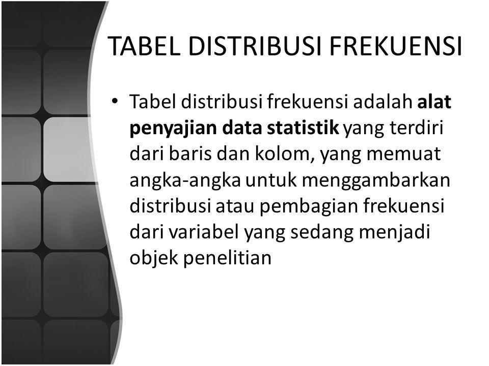 TABEL DISTRIBUSI FREKUENSI Tabel distribusi frekuensi adalah alat penyajian data statistik yang terdiri dari baris dan kolom, yang memuat angka-angka untuk menggambarkan distribusi atau pembagian frekuensi dari variabel yang sedang menjadi objek penelitian