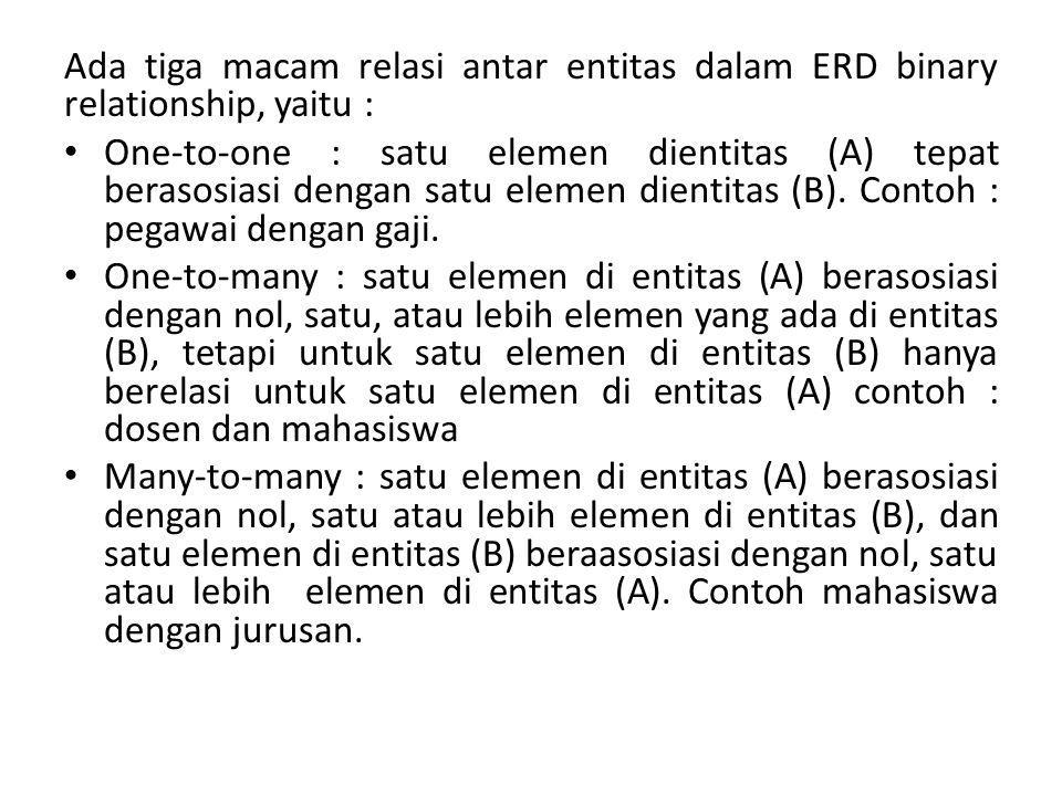 Ada tiga macam relasi antar entitas dalam ERD binary relationship, yaitu : One-to-one : satu elemen dientitas (A) tepat berasosiasi dengan satu elemen