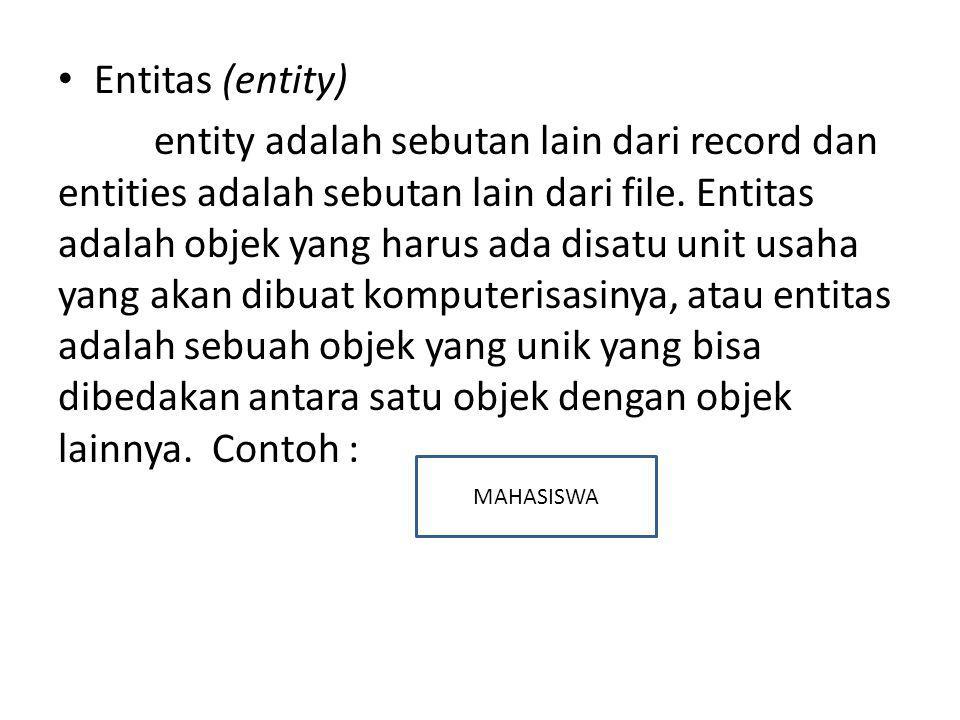 Entitas (entity) entity adalah sebutan lain dari record dan entities adalah sebutan lain dari file. Entitas adalah objek yang harus ada disatu unit us