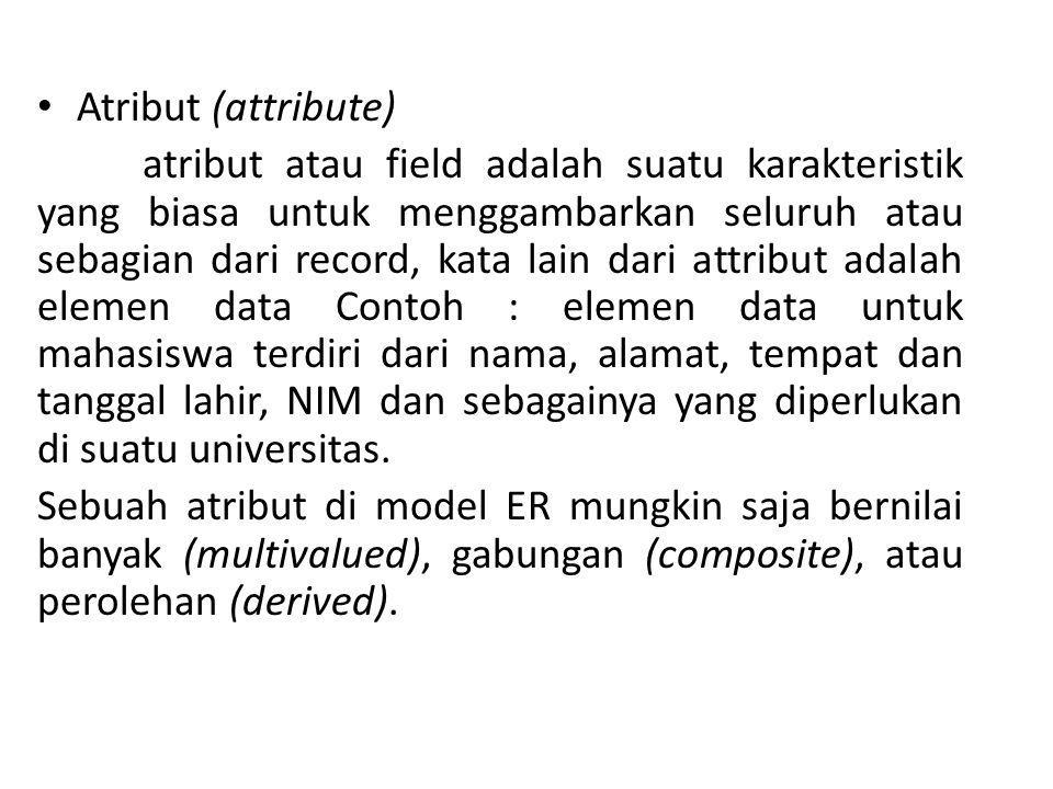 Atribut (attribute) atribut atau field adalah suatu karakteristik yang biasa untuk menggambarkan seluruh atau sebagian dari record, kata lain dari att