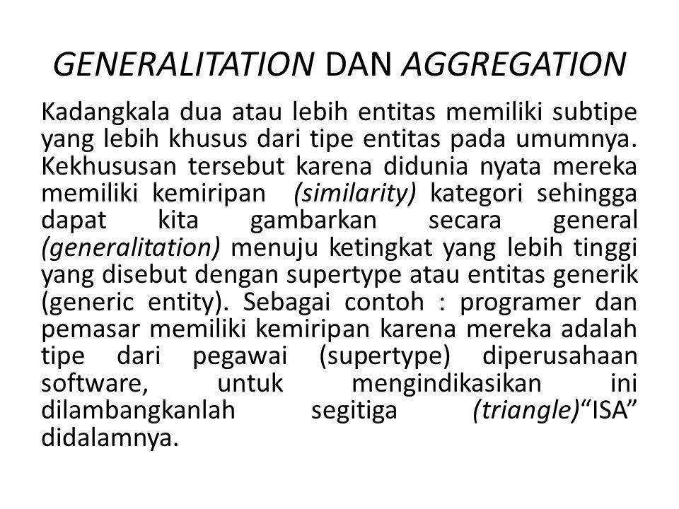 GENERALITATION DAN AGGREGATION Kadangkala dua atau lebih entitas memiliki subtipe yang lebih khusus dari tipe entitas pada umumnya. Kekhususan tersebu