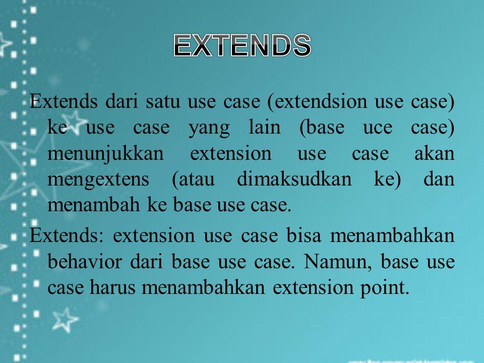 Extends dari satu use case (extendsion use case) ke use case yang lain (base uce case) menunjukkan extension use case akan mengextens (atau dimaksudka