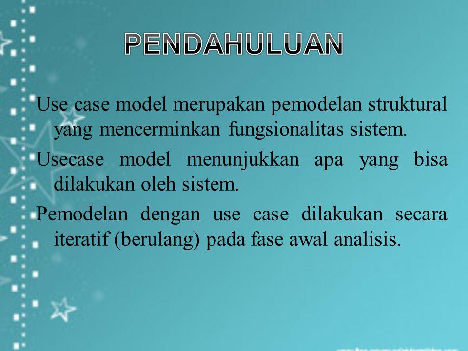 Use case model merupakan pemodelan struktural yang mencerminkan fungsionalitas sistem. Usecase model menunjukkan apa yang bisa dilakukan oleh sistem.
