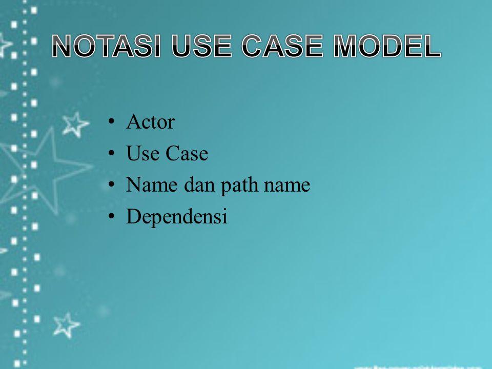 Actor merupakan user atau sistem eksternal yang berinteraksi dengan sistem yang akan dibuat.