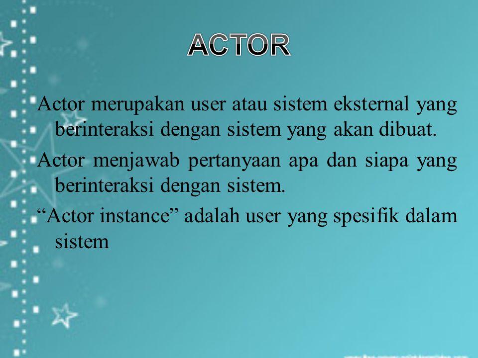 Actor merupakan user atau sistem eksternal yang berinteraksi dengan sistem yang akan dibuat. Actor menjawab pertanyaan apa dan siapa yang berinteraksi