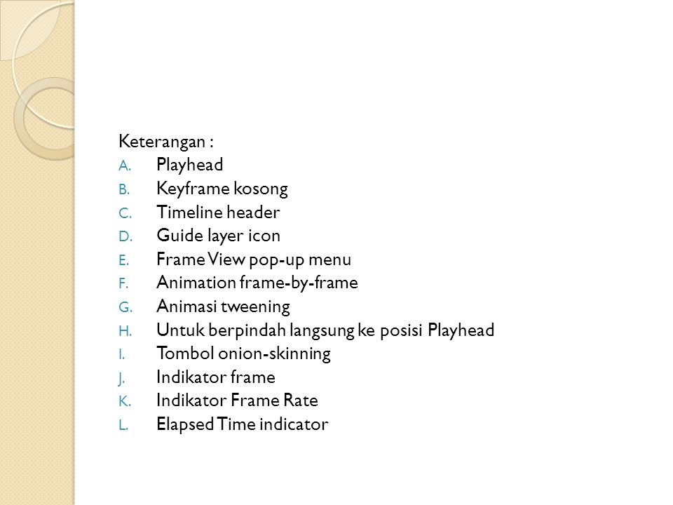 Keterangan : A. Playhead B. Keyframe kosong C. Timeline header D. Guide layer icon E. Frame View pop ‑ up menu F. Animation frame-by-frame G. Animasi