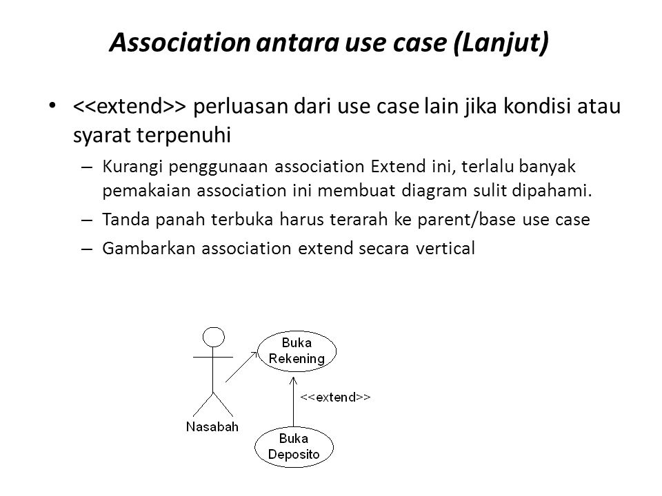 Association antara use case (Lanjut) > perluasan dari use case lain jika kondisi atau syarat terpenuhi – Kurangi penggunaan association Extend ini, te