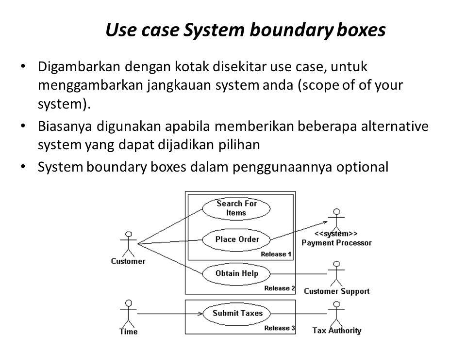 Use case System boundary boxes Digambarkan dengan kotak disekitar use case, untuk menggambarkan jangkauan system anda (scope of of your system). Biasa