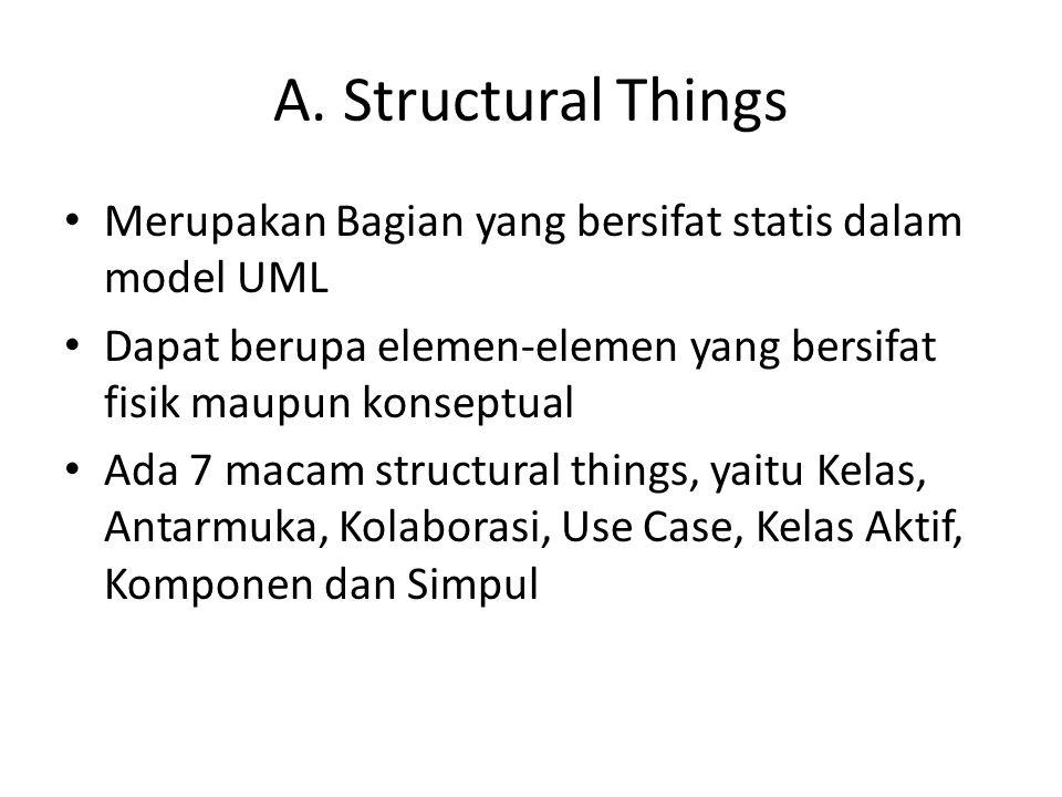 A. Structural Things Merupakan Bagian yang bersifat statis dalam model UML Dapat berupa elemen-elemen yang bersifat fisik maupun konseptual Ada 7 maca