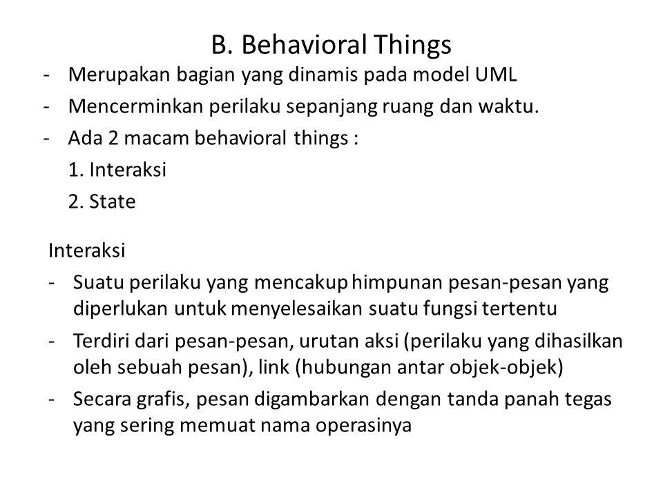 B. Behavioral Things -Merupakan bagian yang dinamis pada model UML -Mencerminkan perilaku sepanjang ruang dan waktu. -Ada 2 macam behavioral things :
