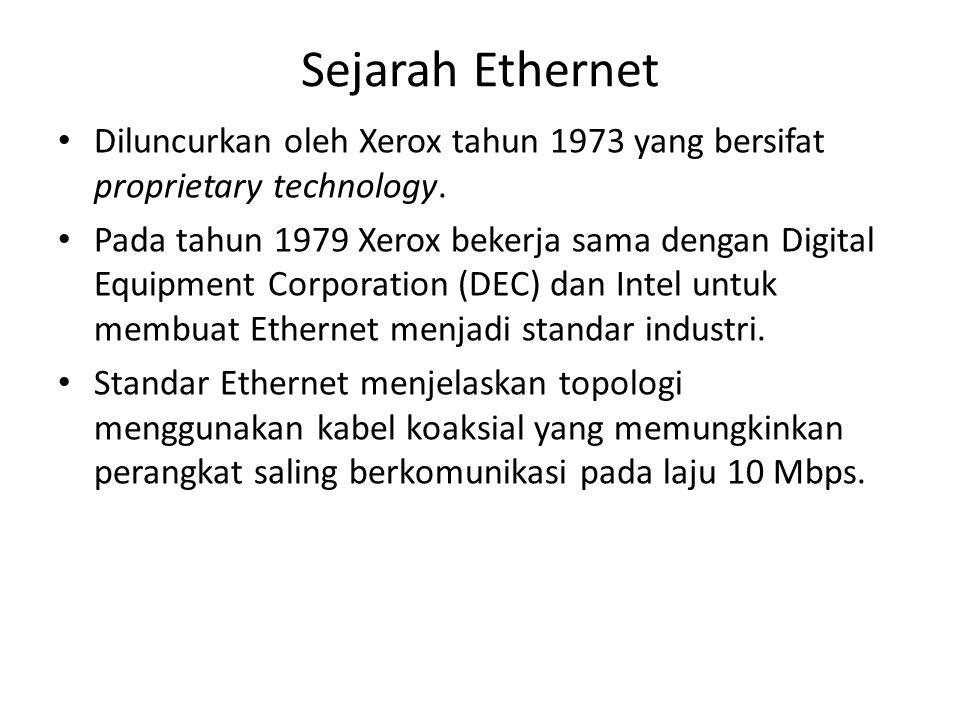 Sejarah Ethernet Diluncurkan oleh Xerox tahun 1973 yang bersifat proprietary technology.