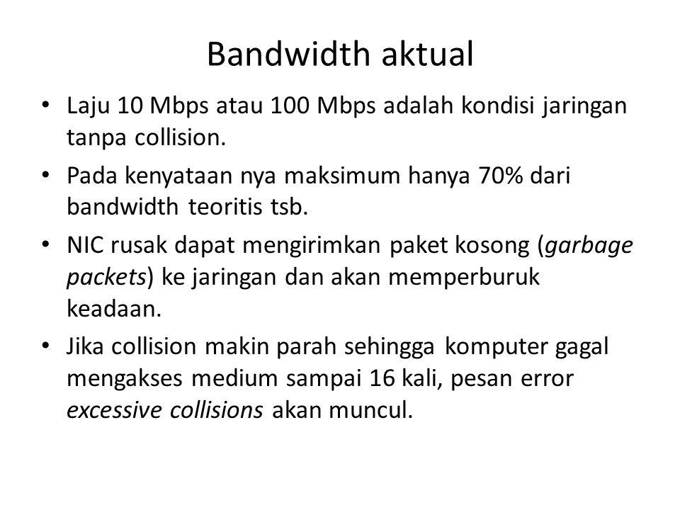 Bandwidth aktual Laju 10 Mbps atau 100 Mbps adalah kondisi jaringan tanpa collision.