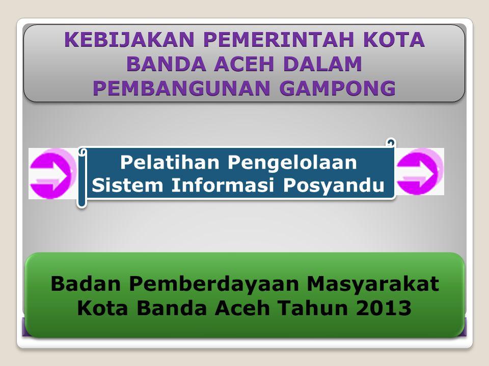 Pelatihan Pengelolaan Sistem Informasi Posyandu Badan Pemberdayaan Masyarakat Kota Banda Aceh Tahun 2013 Badan Pemberdayaan Masyarakat Kota Banda Aceh