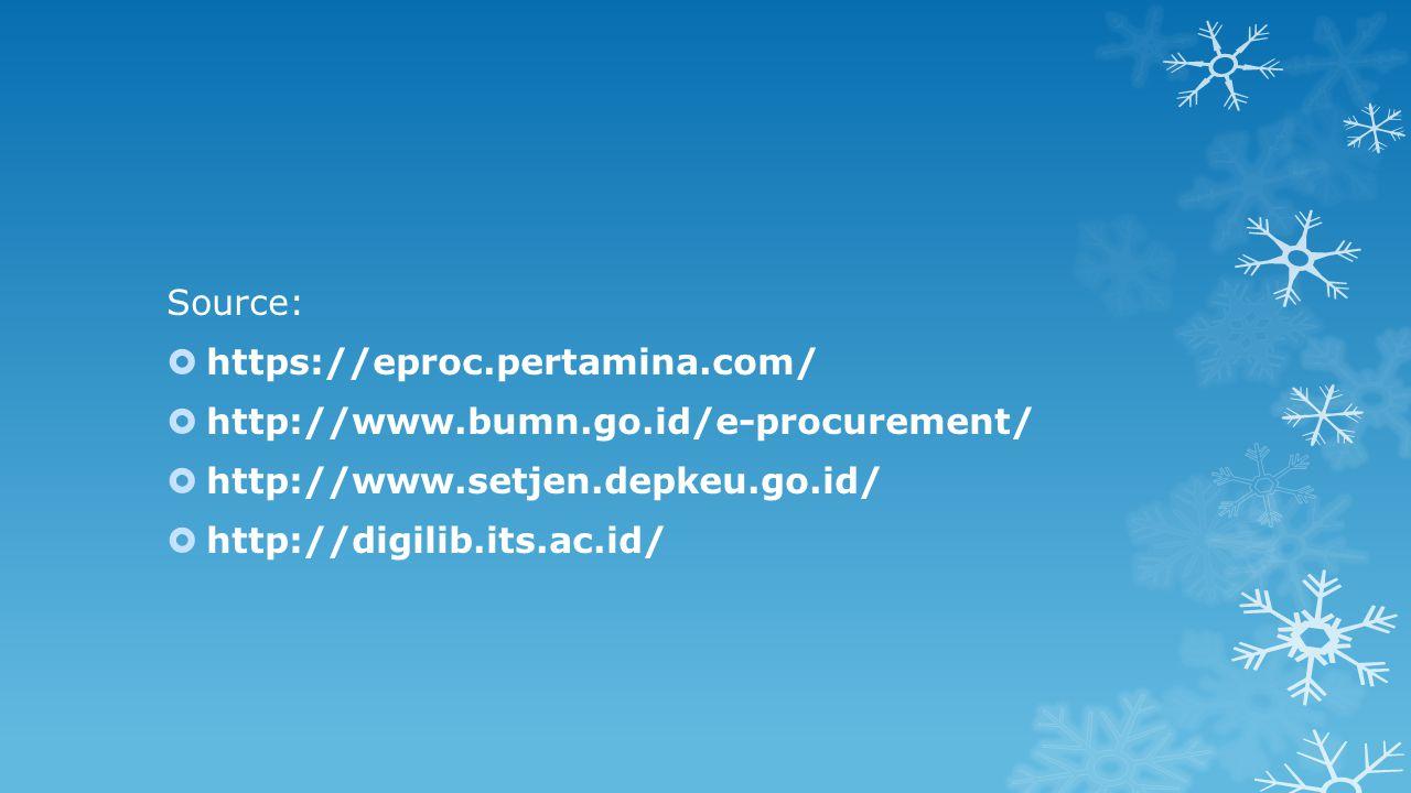 Source:  https://eproc.pertamina.com/  http://www.bumn.go.id/e-procurement/  http://www.setjen.depkeu.go.id/  http://digilib.its.ac.id/