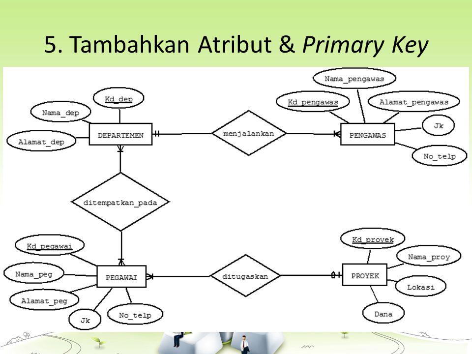 5. Tambahkan Atribut & Primary Key