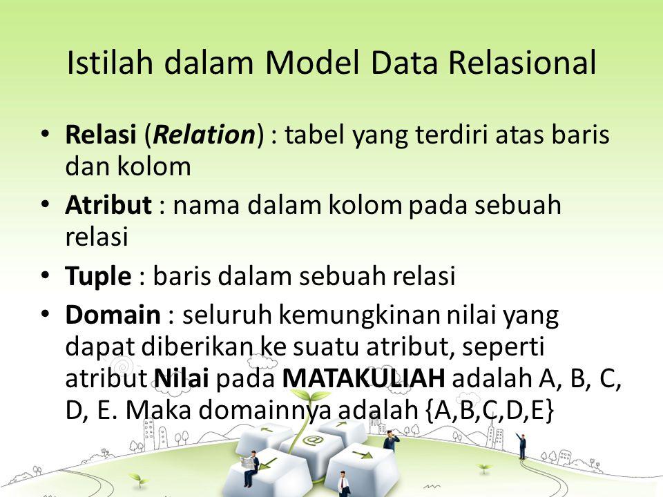Istilah dalam Model Data Relasional Relasi (Relation) : tabel yang terdiri atas baris dan kolom Atribut : nama dalam kolom pada sebuah relasi Tuple : baris dalam sebuah relasi Domain : seluruh kemungkinan nilai yang dapat diberikan ke suatu atribut, seperti atribut Nilai pada MATAKULIAH adalah A, B, C, D, E.