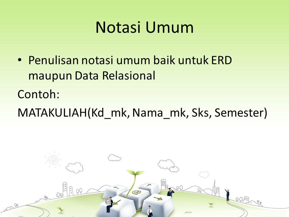 Notasi Umum Penulisan notasi umum baik untuk ERD maupun Data Relasional Contoh: MATAKULIAH(Kd_mk, Nama_mk, Sks, Semester)
