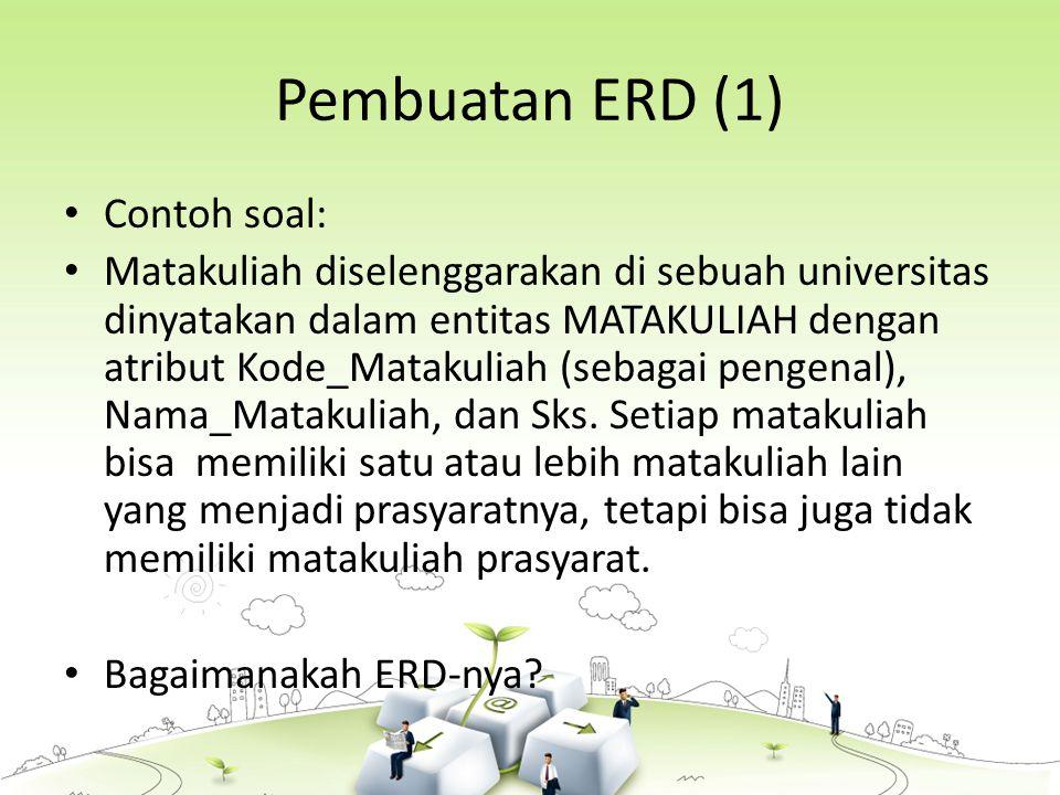 Pembuatan ERD (1) Contoh soal: Matakuliah diselenggarakan di sebuah universitas dinyatakan dalam entitas MATAKULIAH dengan atribut Kode_Matakuliah (sebagai pengenal), Nama_Matakuliah, dan Sks.