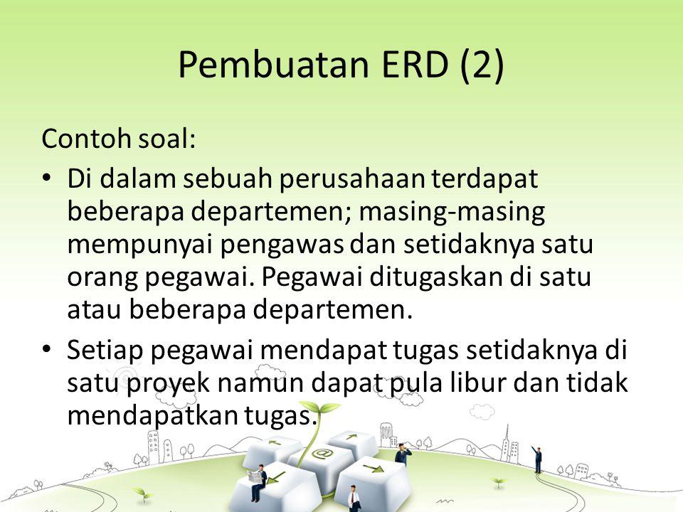 Pembuatan ERD (2) Contoh soal: Di dalam sebuah perusahaan terdapat beberapa departemen; masing-masing mempunyai pengawas dan setidaknya satu orang pegawai.