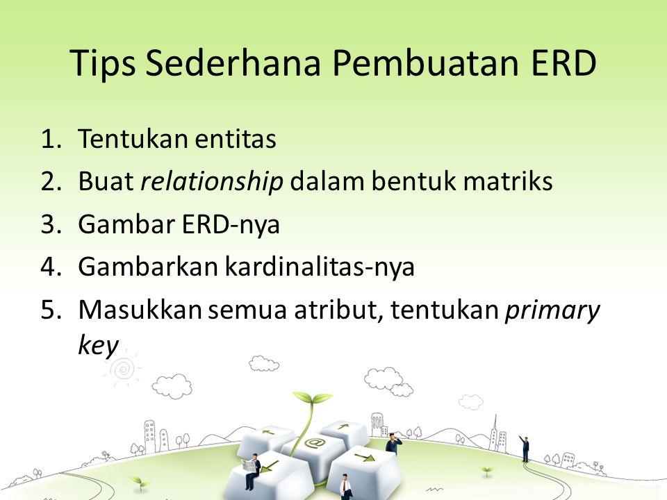 Tips Sederhana Pembuatan ERD 1.Tentukan entitas 2.Buat relationship dalam bentuk matriks 3.Gambar ERD-nya 4.Gambarkan kardinalitas-nya 5.Masukkan semua atribut, tentukan primary key
