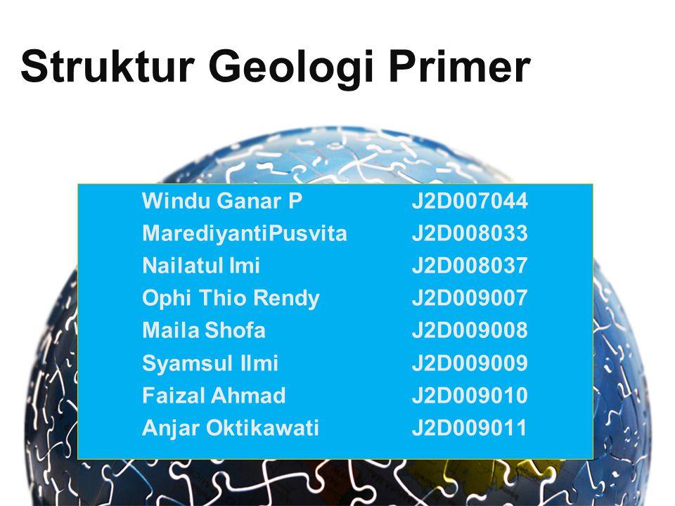 Struktur Geologi Primer Windu Ganar PJ2D007044 MarediyantiPusvitaJ2D008033 Nailatul ImiJ2D008037 Ophi Thio RendyJ2D009007 Maila ShofaJ2D009008 Syamsul