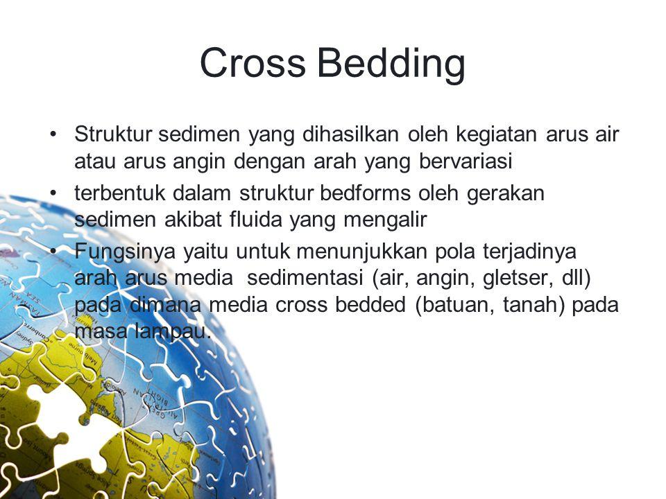 Cross Bedding Struktur sedimen yang dihasilkan oleh kegiatan arus air atau arus angin dengan arah yang bervariasi terbentuk dalam struktur bedforms ol