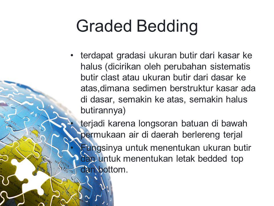 Graded Bedding terdapat gradasi ukuran butir dari kasar ke halus (dicirikan oleh perubahan sistematis butir clast atau ukuran butir dari dasar ke atas