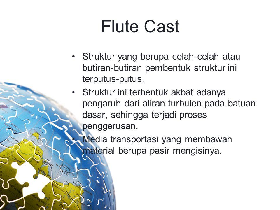 Flute Cast Struktur yang berupa celah-celah atau butiran-butiran pembentuk struktur ini terputus-putus. Struktur ini terbentuk akbat adanya pengaruh d