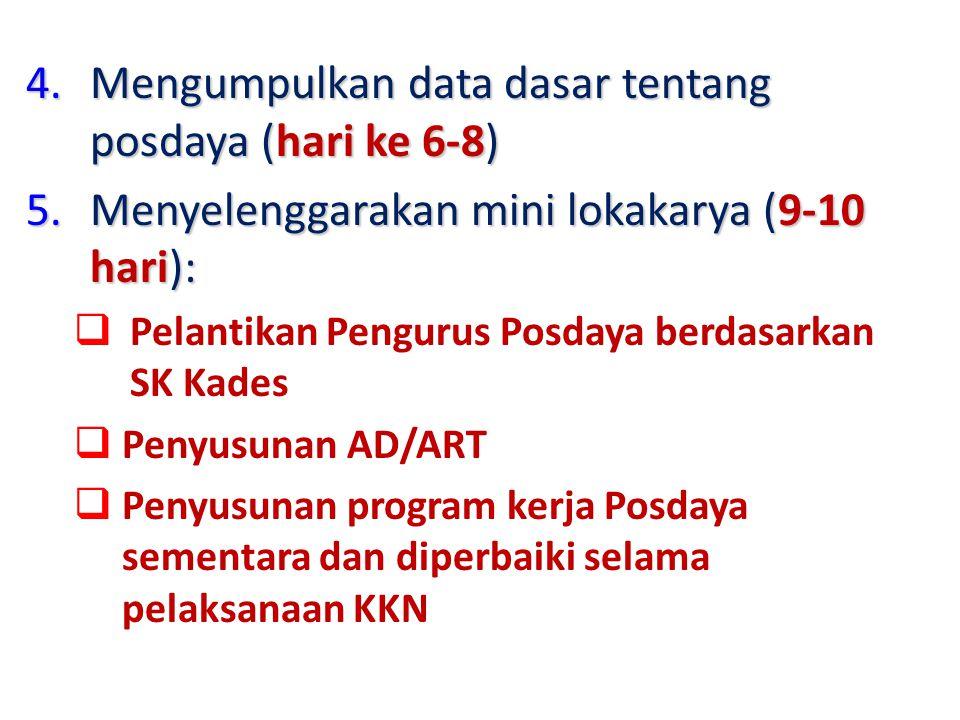 4.Mengumpulkan data dasar tentang posdaya (hari ke 6-8) 5.Menyelenggarakan mini lokakarya (9-10 hari):  Pelantikan Pengurus Posdaya berdasarkan SK Ka