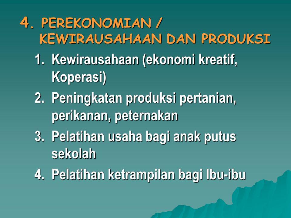 4. PEREKONOMIAN / KEWIRAUSAHAAN DAN PRODUKSI 1.Kewirausahaan (ekonomi kreatif, Koperasi) 2.Peningkatan produksi pertanian, perikanan, peternakan 3.Pel